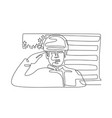 american soldier saluting usa flag continuous line vector image vector image