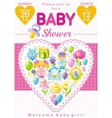 Baby shower invitation design in pink color for vector image