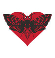 banner with butterfly dead head on red heart vector image vector image