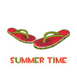 beach slippers or flip flops with a print vector image