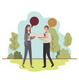 business couple with speech bubble in landscape vector image vector image
