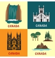 Canadian travel landmarks flat icons vector image vector image