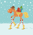Christmas card with horse in cowboy hat and boots vector image