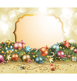 christmas vintage garland with baubles vector image