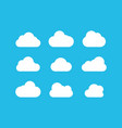 clouds collection white clouds icons on blue vector image vector image