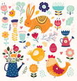 collection of spring elements vector image vector image