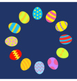Colored Easter egg set round frame on blue vector image vector image