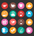 Colorful tea thin line icons set