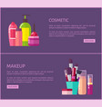 cosmetic and makeup pages set vector image