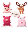 cow deer pig cat -set animals vector image