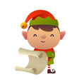 cute cartoon christmas elf reads paper letter vector image vector image