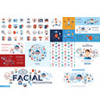 digital facial recognition icons set vector image
