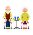 elderly peole are sitting at a table and drinking vector image