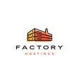 factory hosting server cloud data storage logo vector image vector image