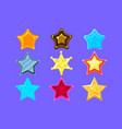 five-point colorful cartoon star collection for vector image vector image
