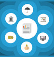 flat icon finance set of bank parasol document vector image