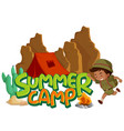 font design for word summer camp with boy vector image