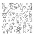 hand drawn doodle back to school icons set vector image vector image