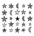Hand drawn star and moon doodles collection vector image vector image