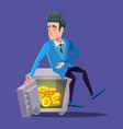 happy businessman sitting on safe full of bitcoin vector image vector image