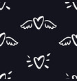 hearts with wings seamless pattern valentine day vector image vector image