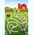 help the cow to find the farm vector image vector image