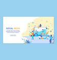 horizontal flat banner social media chatbot vector image vector image