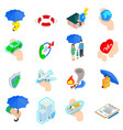 Insurance Icons set isometric 3d style vector image