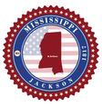 label sticker cards of state mississippi usa vector image vector image