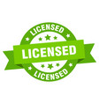 licensed ribbon round green sign vector image vector image