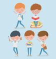 little students group with school supplies vector image