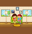 living room scene with two boys eating snack vector image vector image