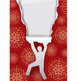 Man ripping christmas paper vector image vector image
