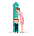 measure child kid height mother woman ruler meter vector image vector image