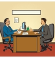 Men in office talk pop art retro style vector image vector image