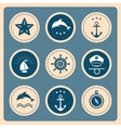 Nautical and sea icons badges and labels vector image vector image
