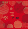 oriental style happy new year 2018 card on red vector image
