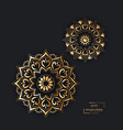 ornamental gold card with two flower oriental vector image