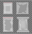 realistic transparent empty plastic food vector image vector image