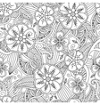 Seamless pattern with flowers and leafs in doodle vector image