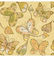 Seamless pattern with lace butterflies and leaves vector image vector image