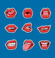 set female mouths with red lipstick cartoon pop vector image vector image
