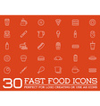 Set of Fastfood Fast Food Elements Icons and vector image vector image