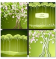 Set of Spring green backgrounds with trees leaves vector image