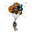soaring spaceman astronaut with planets balloons vector image vector image