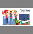 sport fans group fan attributes watching vector image vector image