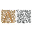 vintage initial letter a with baroque decoration vector image
