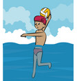 water polo cartoon vector image vector image