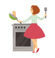 woman cooking pancakes housewife with pan and vector image vector image