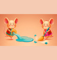 zodiac rat with broom cny mouse pours out water vector image vector image
